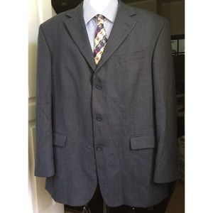 Oscar De La Renta Men's Blazer 46L Wool Blue Gray